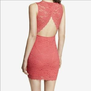 Coral Pink Back Cut Out Lace Dress🎀 NWOT